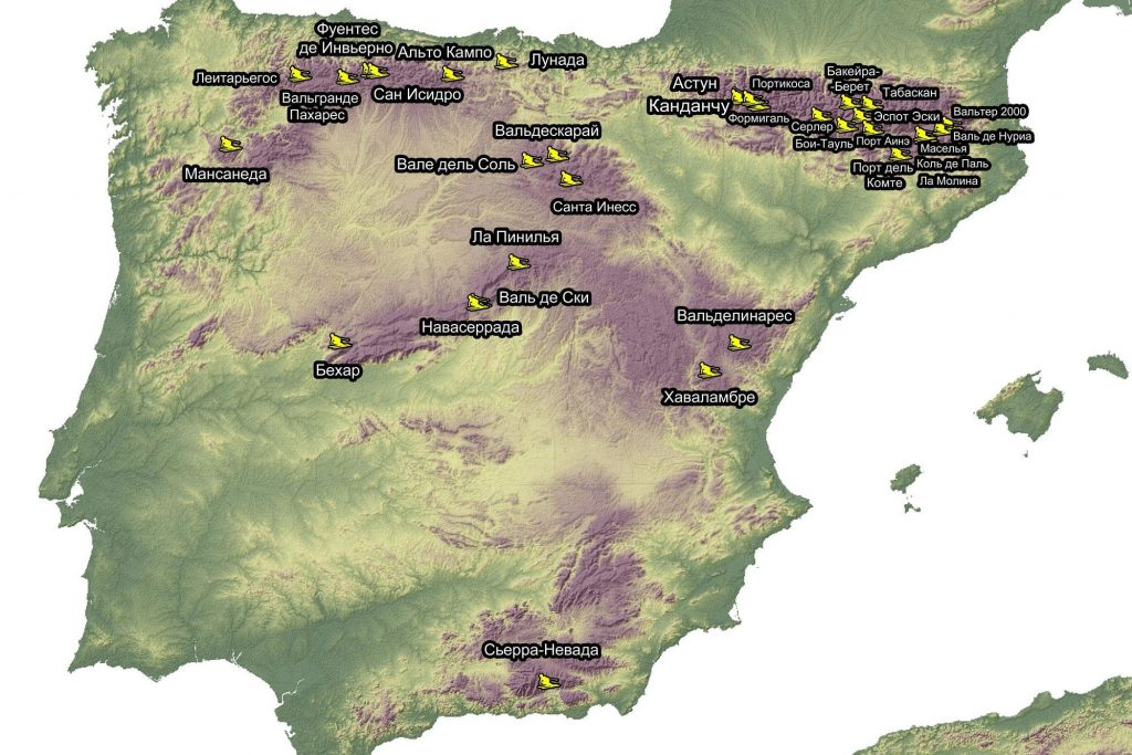 Карта горнолыжных курортов Испании
