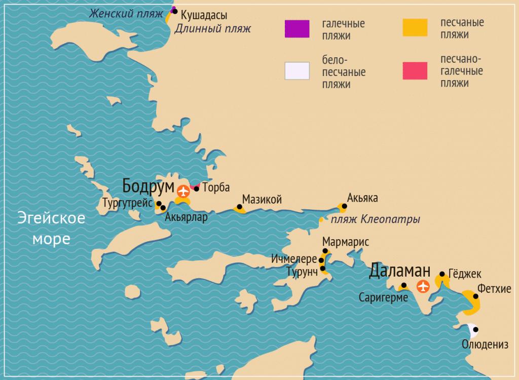 Карта курортов Турции на Эгейском море