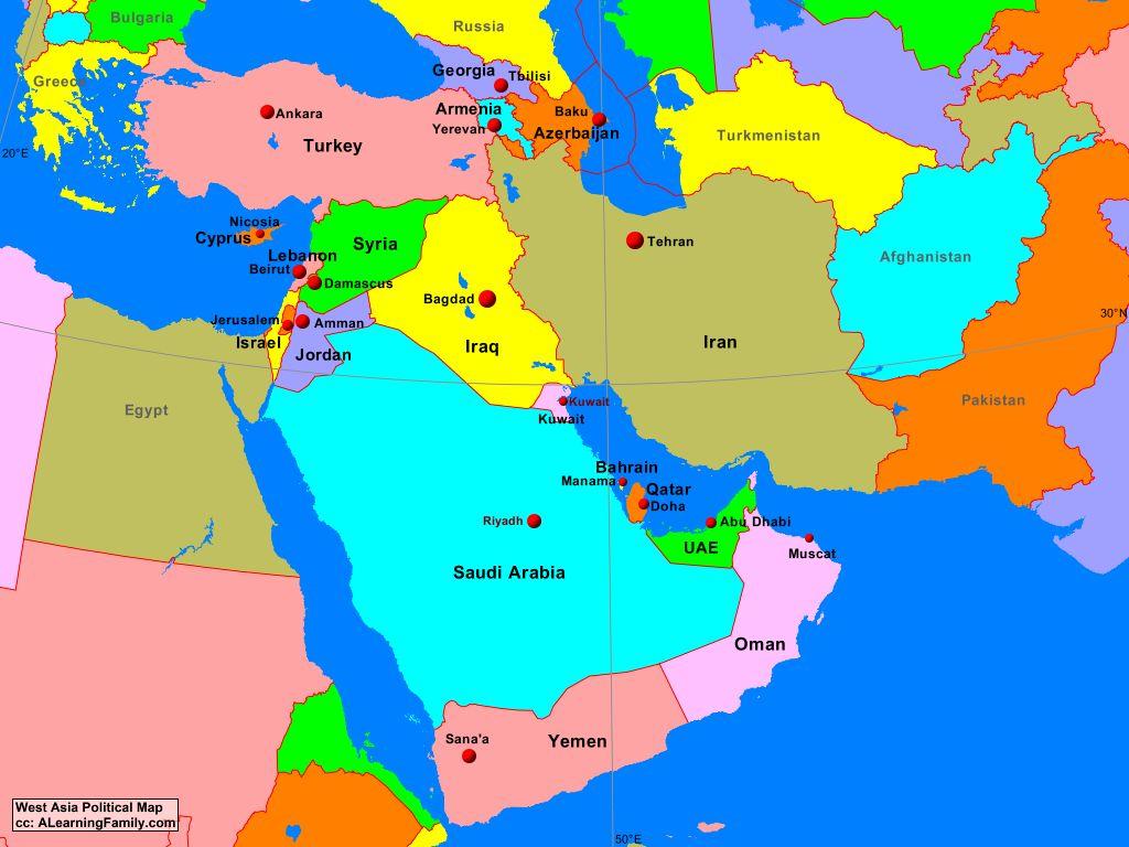 Карта Азии Турции