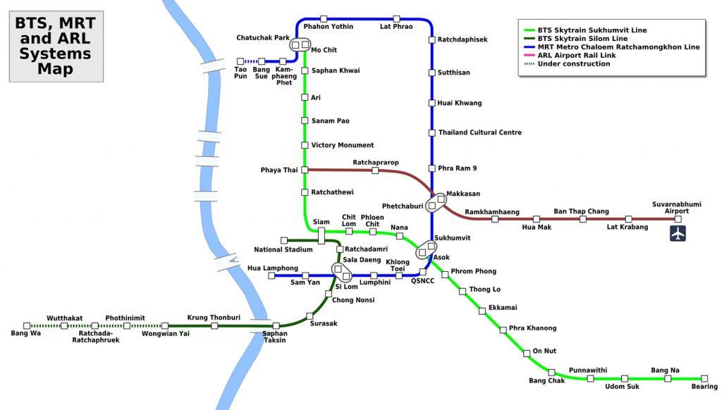 Схема метро Бангкока
